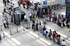 Security Check. People Passing Security Check in Airport or railway train station Stock Image