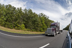 Passing A Semi-Truck On The Interstate Highway Stock Image