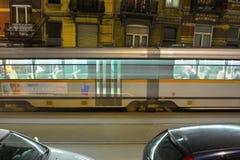Passing speeding  tram at night Stock Images