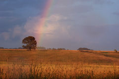 Passing storm. A rainbow forms as a storm passes over a rural Warren County, Iowa, field stock photos