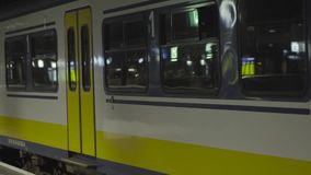 A passing subway train close up.  stock video footage