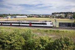 Passing Swiss train Stock Photo