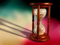Passing time. Wooden hourglass on abstract background. Digital illustration vector illustration