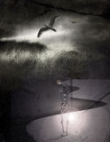 Passing of time. Skeletal figure, time and bird over stars Stock Photos