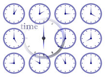 Passing time. Time passing concept using multiple clock face illustations Stock Photography