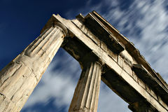 Passing Time Concept. Old Greek columns in Athens - Passing Time Concept Royalty Free Stock Photo