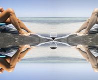 Passing of time does leave a tan also by beautiful legs. Surreal scene Royalty Free Stock Image