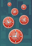Passing time at night. Vector illustration of passing time at night. There is a lot of oranges clock and abstract dark background. Eps format is available Royalty Free Stock Photo