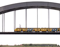 Passing train 4. Train passing a Rhine bridge Royalty Free Stock Images