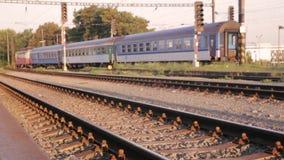 Passing train landscape. Footage of Pilsen Train Station in Czech republic stock video footage
