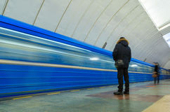 Passing trains in the subway in Yekaterinburg. Passing trains in the subway Stock Photography