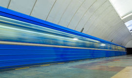 Passing trains in the subway in Yekaterinburg. Passing trains in the subway Royalty Free Stock Images