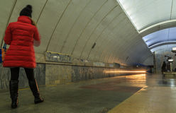 Passing trains in the subway in Yekaterinburg. Passing trains in the subway Stock Image