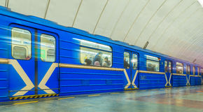 Passing trains in the subway in Yekaterinburg. Passing trains in the subway Stock Images
