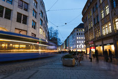 Passing tram on a street Royalty Free Stock Photography