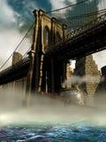Passing under the Brooklyn bridge royalty free illustration