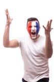 Passioné du football criard de Frances du jeu de perturbation de l'équipe nationale de Frances Images libres de droits