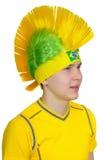 Passioné du football dans la coiffe - Mohawk (iroquois) Image libre de droits