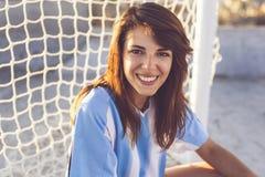 Passioné du football femelle image libre de droits