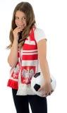 Passioné du football polonais d'énigme images stock