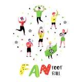 Passionés du football célébrant la victoire Défenseurs drôles de sport de caractères Groupe de personnes soutenant sur le match a Photos stock