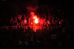 Passionés du football célébrant le but Image libre de droits