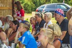 Passionés du football croates observant le football à la TV photographie stock libre de droits