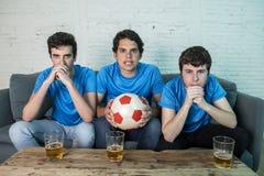 Passionés du football déçus observant un match de football Photographie stock libre de droits