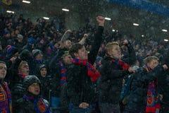 Passionés du football de CSKA sur le jeu de football Image libre de droits