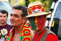 Passionés du football portugais Photographie stock libre de droits