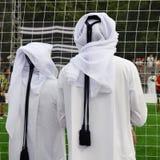 Passionés du football du Qatar Photos libres de droits