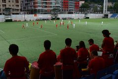 Passionés du football radieux de l'Andorre célébrant la victoire chez Estadi Nacional Coupe du monde affamée de qualificateurs de photo libre de droits