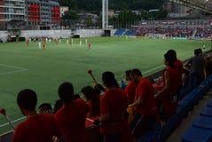Passionés du football radieux de l'Andorre célébrant la victoire chez Estadi Nacional Coupe du monde affamée de qualificateurs de photos libres de droits
