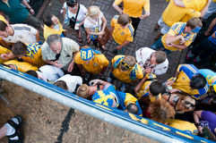 Passionés du football suédois sur l'euro 2012 Photos libres de droits