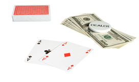 Passion. Two ases, pack and dollars, it is isolated on a white background Royalty Free Stock Photo