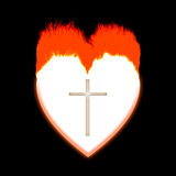 Passion. Heart burning a cross in the center Royalty Free Stock Photography