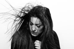 Passion. Artistic portrait  photo of woman with passion, in black and white Stock Image