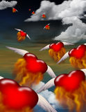 Passion. Winged burning hearts fly toward an unknown destination Royalty Free Illustration