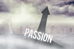 Passion against road turning into arrow Royalty Free Stock Photos