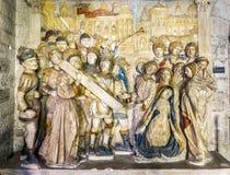 Passion av Kristusskulpturen inom consistoryen av poen arkivfoto