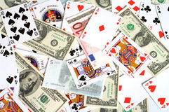 Passion a background. Background from playing cards and monetary denominations Stock Photos