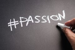 Passion on Chalkboard stock photography