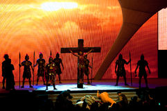 The Passion of Christ. The stage performance of the last moment of Jesus Christ on the cross during Good Friday. Photo was taken on 22 April 2011 at City Harvest Royalty Free Stock Image