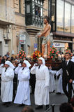 Passion of the Christ. Good Friday Easter procession, Malta. Royalty Free Stock Photo
