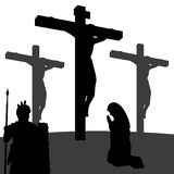 Passion of Christ Silhouette. Good Friday silhouettes collection: Mary is praying by the cross of Jesus crucified on the hill of Calvary, a roman centurion Royalty Free Stock Photography