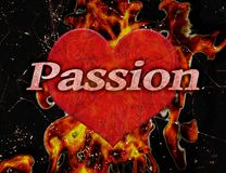 Passion Concept Background Illustration. Passion text over heart shape with fire background conceptual illustration design Stock Image