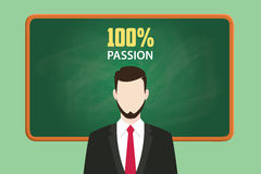 Passion concept illustration with businessman standing  chalkboard and text behind vector graphic. 100 passion concept illustration with businessman standing Royalty Free Stock Photography