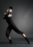 Passion dancer in black clothes Royalty Free Stock Photography