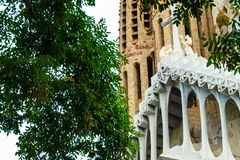 Barcellona, Spain 07 September 2018: Passion façade and the branch tree. Passion façade and the branch tree royalty free stock photos