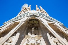 Passion Facade of the Basilica and Expiatory Church of the Holy Family. In Barcelona stock images